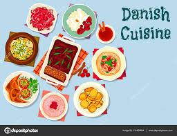 cuisine danemark de plats de cuisine danois et scandinaves image vectorielle 131659804