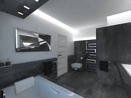 interior innovative bathroom design with black brick wall design