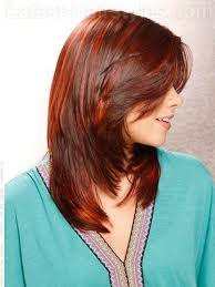 back view of medium styles medium straight layered haircuts back view red raven highlighted