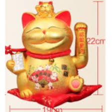 bn electric gold waving lucky cat ornaments large opening genuine