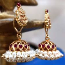 jhumka earrings online buy lakshmi ji shaped gold plated temple jhumka earrings online