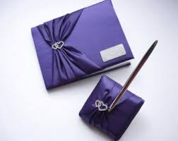 purple guest book personalized wedding guest book and pen set in white or