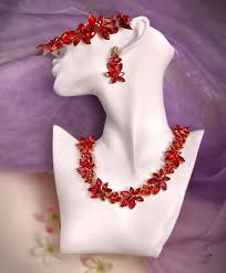 red necklace earrings set images Himstory crown tiara wedding bride jewelry red crystal 3 pcs set jpg