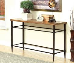 Metal And Wood Sofa Table by Herrick Collection Transitional Style Light Oak Finish Wood And