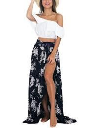 black maxi skirt with slit hotapei s floor length floral chiffon maxi skirt with