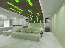 Comfortable Bedroom Green Accent Ceiling Idea In Futuristic Interior Design Feat