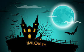 halloween background witch moon halloween house witch bats 6953536