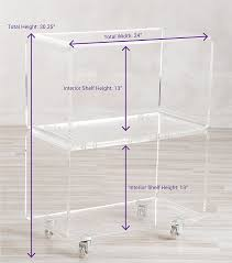 amazon com acrylic rolling cart in clear perfect as a bar cart