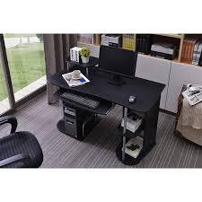 tablette coulissante bureau informatique avec étagères et tablette coulissante noir