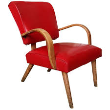 1950s Armchair American 1950s Red Vinyl Armchair For Sale At 1stdibs