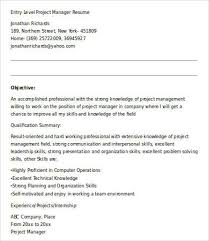 Entry Level Project Manager Resume Sample by Entry Level Resume Template 9 Free Word Pdf Documents Download