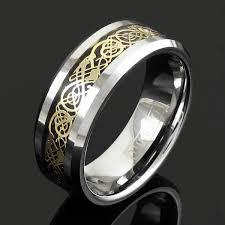 men rings wholesale images Silver tungsten ring w gold celtic dragon wholesale 925express jpg