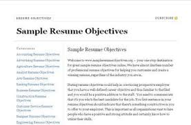 how to write resume objective examples