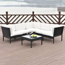 6 pcs right angle rattan wicker patio furniture set outdoor