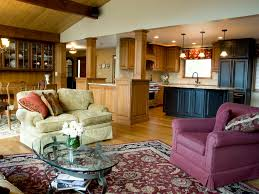 vaulted ceiling wood rocking chair staircase loft dark trim