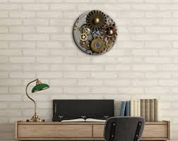 steampunk wall clock etsy