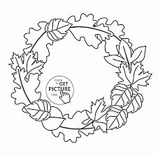 fall leaves wreath coloring pages for kids autumn leaves