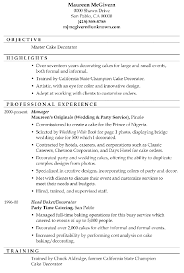 resume sample master cake decorator