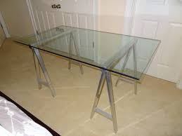 Sawhorse Trestle Desk 125 Glass Top Desk With Trestle Base Orlando Oh My Goods