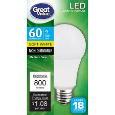 great value led light bulb 9w 60w equivalent soft white 1 count