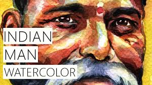 portrait watercolor speed painting indian man portrait youtube