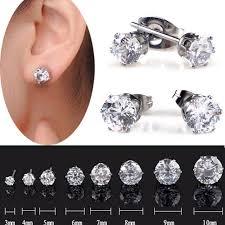 mens ear studs 1pair mens diamante earrings stainless steel clear
