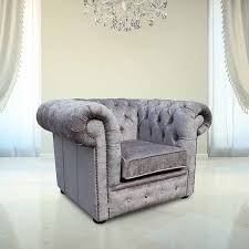 Low Back Armchair Buy Silver Chesterfield Club Chair At Designersofas4u