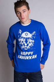 hanukkah clothing blue cat happy hanukkah christmas sweatshirt ragstock