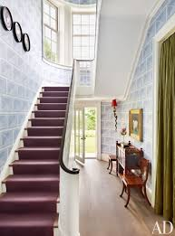 Traditional Staircase Ideas The Stair Hall U0027s Sgraffito Inspired Wall Covering Is A Katie