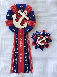 baby shower corsage pin set nautical sailing anchor mommy to