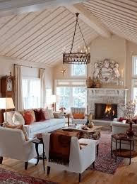 home interior wall design living room furniture layout beige floral fabric area rugs vintage