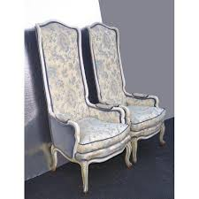 High Back Accent Chair French Provincial Tall Highback Blue Floral Down Accent Chairs A