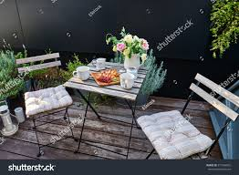 vintage outdoor coffee table cafe wooden stock photo 571549855