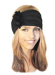 boho hair wrap stretch chunky wide band hair band black boho chic