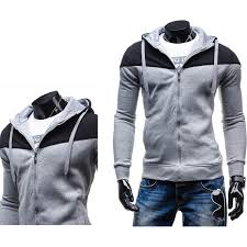 mens stitching zipper fashion hoodies casual leisure sweatshirt at