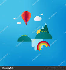 minimalistic travel vacation landscape with balloon waterfall and