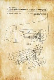 tuba patent patent print wall decor music poster music art