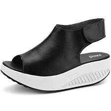 Black Comfort Shoes Women Amazon Com Shake Women U0027s Shape Ups Leather Comfort Peep Toe