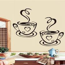 online buy wholesale wall adhesive decor from china wall adhesive dctop double coffee cups wall stickers on the kitchen vinyl art wall decals adhesive wallpapper room