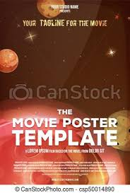 eps vectors of movie poster template illustration of a space
