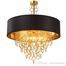 Drum Shade Pendant Light Fixture Modern Chandeliers With Black Drum Shade Pendant Light Gold Rings