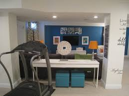 treadmill in living room bright family basement transitional basement chicago by