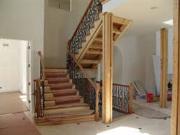 Contemporary Handrail Decorations Trendy Wooden Staircase Design With Iron Railing