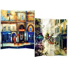 Canvas Room Divider Street 4 Panel Double Sided Painted Canvas Room Divider Screen