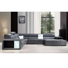 Modern Italian Leather Furniture Divani Casa Polaris Black Contemporary Italian Leather Sectional