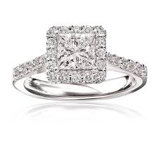 engagement rings with halo princess cut pavé halo engagement ring 14k