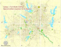 Dallas Texas Map by Dallas Fort Worth Tx Pdf Map Us Exact Vector Street Cityplan