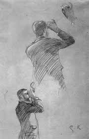 sketch of the right hand and profile and back view of a man with