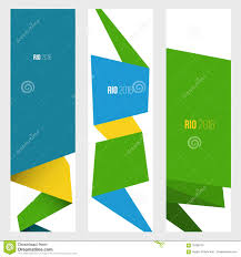 Blank Brazil Flag Three Vertical Banner In Brazil Flag Color Style Stock Vector