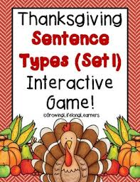 thanksgiving sentence types interactive for big tpt